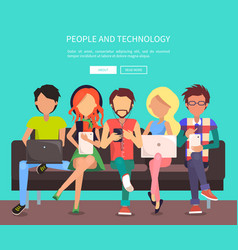 people and technology banner vector image vector image