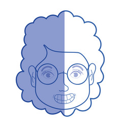 silhouette woman face with hairstyle and glasses vector image vector image