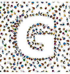 A group of people in of english alphabet letter g vector