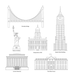 America Thin Line Art vector image