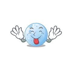 An amusing face blue moon cartoon with tongue out vector