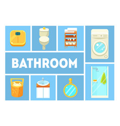 Bathroom banner template modern furniture and vector