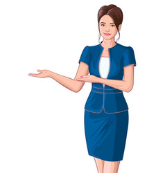 beautiful young business woman showing welcome vector image