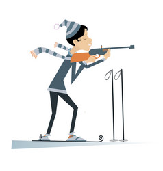 Biathlon competitor young woman isolated vector