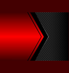 black arrow on red metallic blank circle mesh vector image
