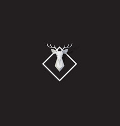 black web banner with polygonal deer head vector image