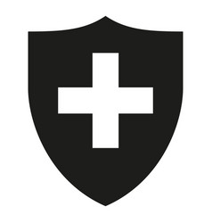 Black white shield with cross silhouette vector
