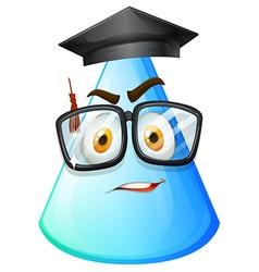 Blue cone with graduation cap vector