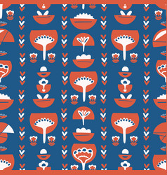 blue red retro floral pattern vector image