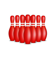 Bowling pins in red design with white stripes vector