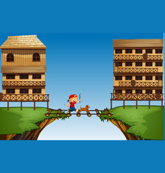 boy crossing bridge on the cliff vector image
