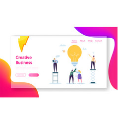 Business man creative idea landing page teamwork vector