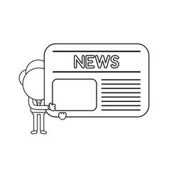 businessman character holding newspaper black vector image