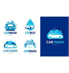 Car wash set logos icons and elements vector
