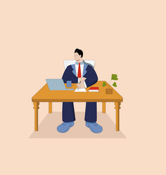 cartoon businessman in suit working on laptop at vector image