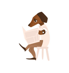 Cartoon dog character reading newspaper vector