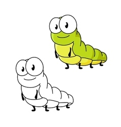 Cartoon green butterfly caterpillar insect vector