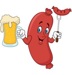 cartoon hotdog drinking beer vector image