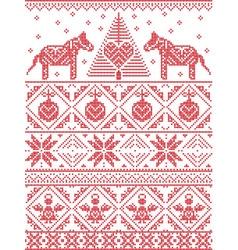 Christmas pattern with dala horse vector