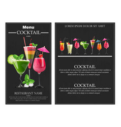 cocktail drinks realistic banner flyer vector image