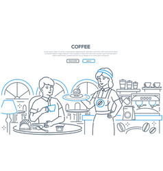 coffee - modern line design style web banner vector image