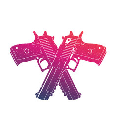 crossed powerful pistols two handguns on white vector image