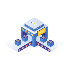 Cryptocurrency market place isometric vector