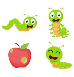 cute caterpillar cartoon cartoon collection set vector image