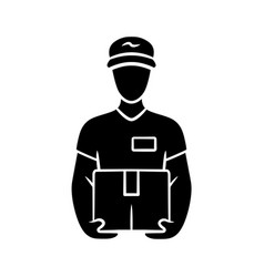 deliveryman with parcel glyph icon courier vector image