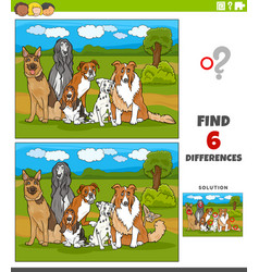 Differences educational game with comic purebred vector