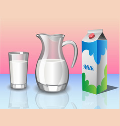 Different set of containers for milk vector