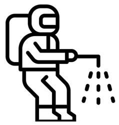 Disinfectant man line style icon vector