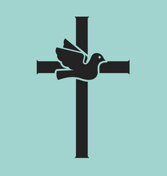 Dove with cross religious sign vector