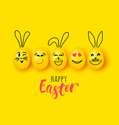 easter eggs and rabbit funny characters vector image