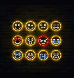 Emoji icon set in outline neon style vector