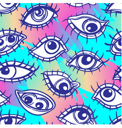 Eyes seamless pattern over colorful dotted retro vector