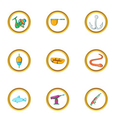 fishing sport icon set cartoon style vector image