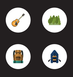 flat icons wood music bag and other vector image