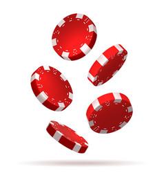 Flying poker chips on white vector