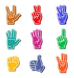 foam fingers colorful icon set vector image