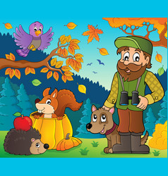 Forester and autumn animals theme 1 vector