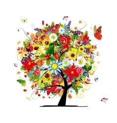 Four seasons concept Art tree for your design vector
