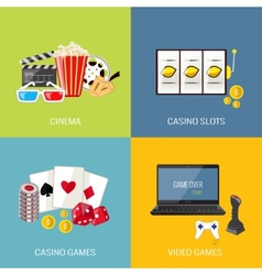 Games flat set vector