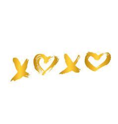 Gold xoxo hand written phrase with heart isolated vector