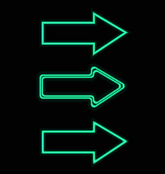 green neon arrows set vector image