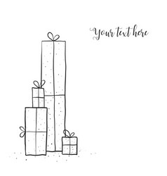 greeting card with pile gift boxes on white vector image