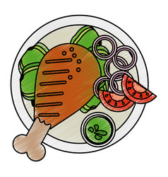 grilled chicken vector image