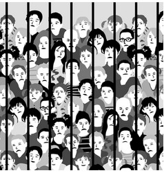 group sad kids bars juvenile justice in vector image