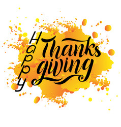 Hand drawn happy thanksgiving lettering typography vector