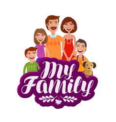 Happy large family banner parents and children vector